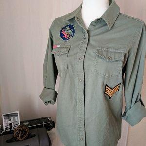 Arizona Jean Co Army Green Button Closure Top Sz M